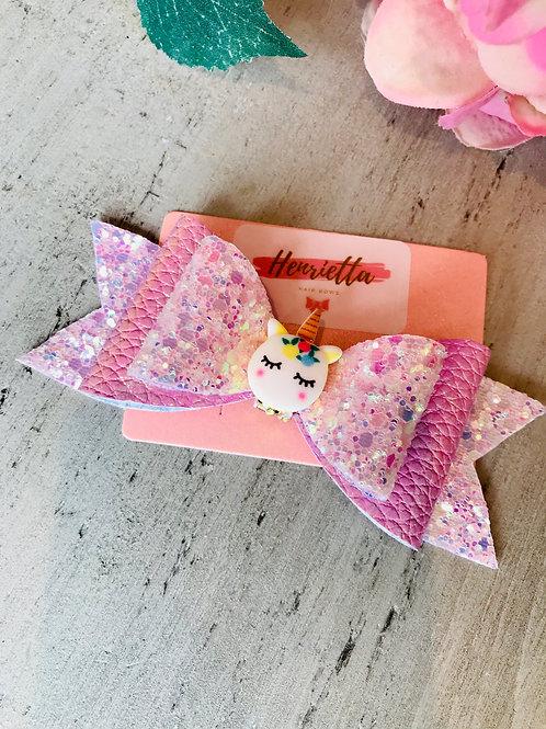 Pink sleepy unicorn bow