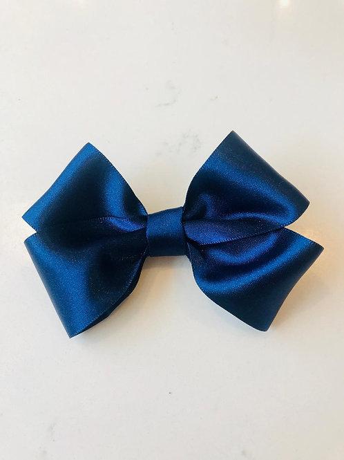 4 Inch Satin Navy Bow