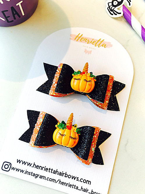 Sleepy Pumpkin Matching Pig Tail Bow Set