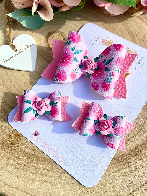 Pink Rose Hair Bow Set