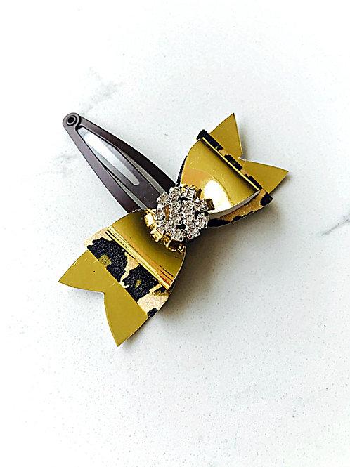 Gold & Leopard Print Snap Clip