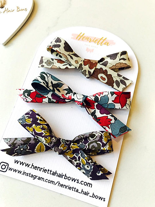 Trio of Liberty Print Hand Tied Hair Clips
