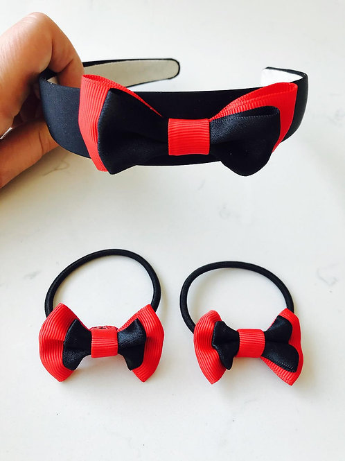 Red and Black Bow School Set