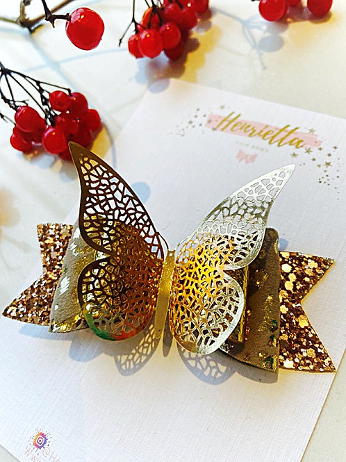 Gold 3D Butterfly Hair Bow