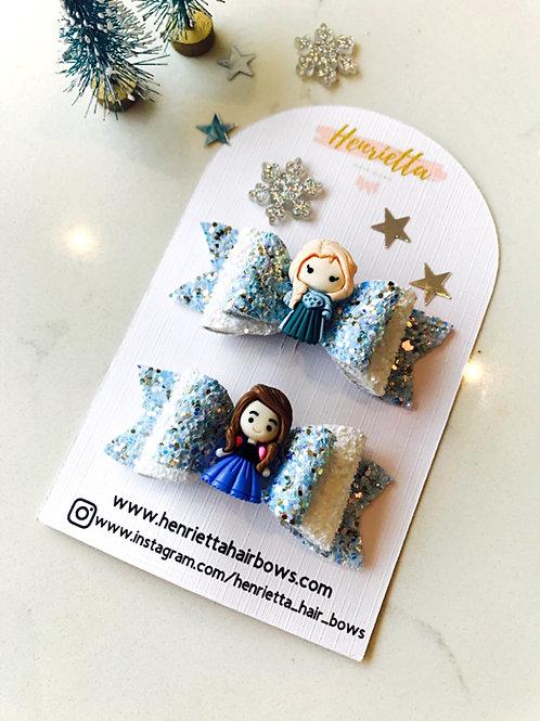 Frozen Inspired Elsa & Anna Hair Bow Set