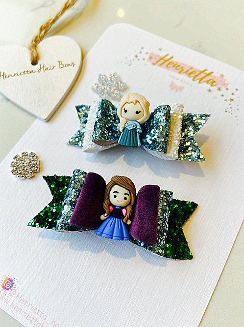 Frozen Elsa And Anna Bow Set