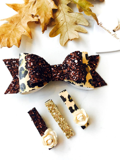 Chocolate Glitter and Leopard Print Set