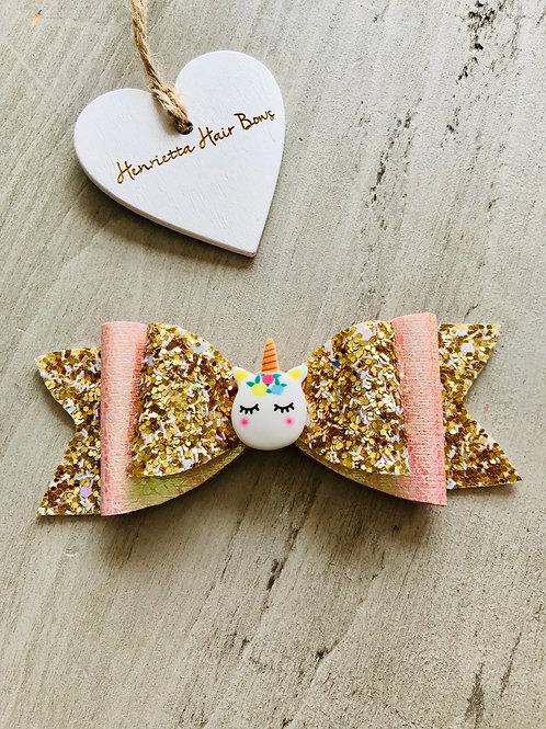 Gold glitter sleepy unicorn