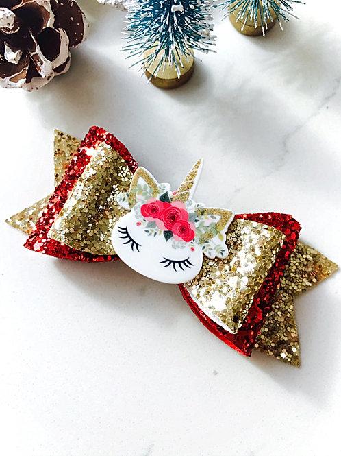 Sleepy Unicorn Christmas Hair Bow