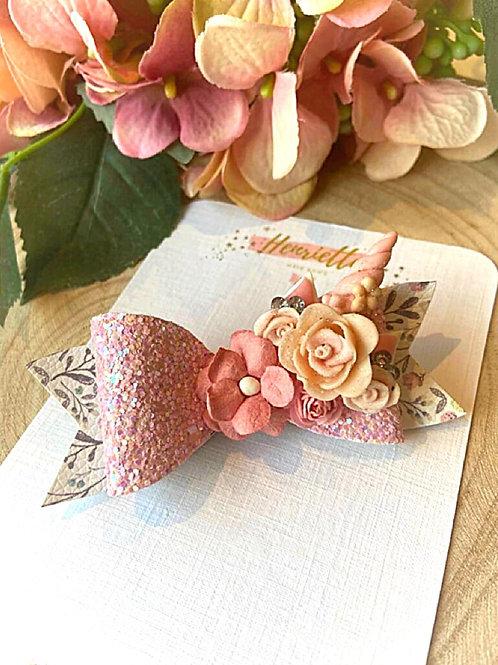 Unicorn And Flowers Glitter Hair Bow