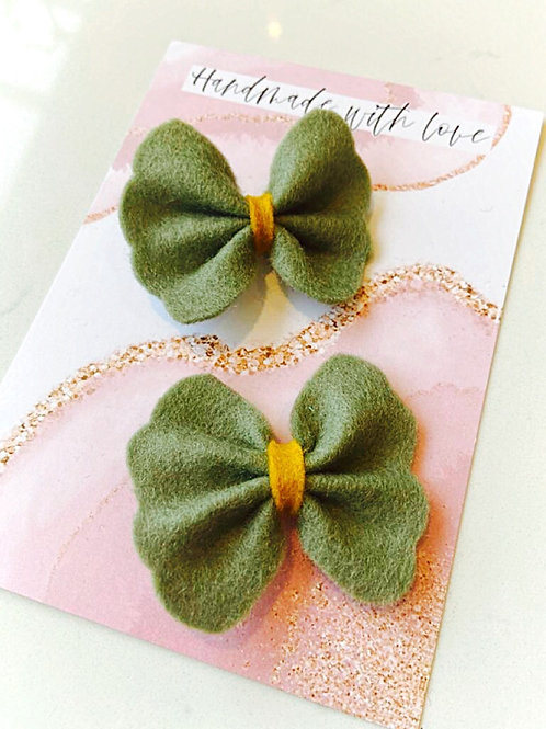 Sage Felt Butterfly Bows