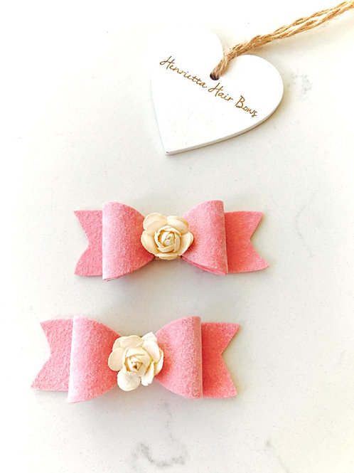 Matching Pink Felt Hair Bows