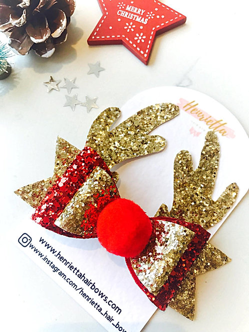 Red & Gold Glitter Rudolph Hair Bow