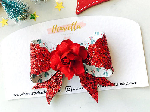 Red Glitter & Holly Double Sided Bow