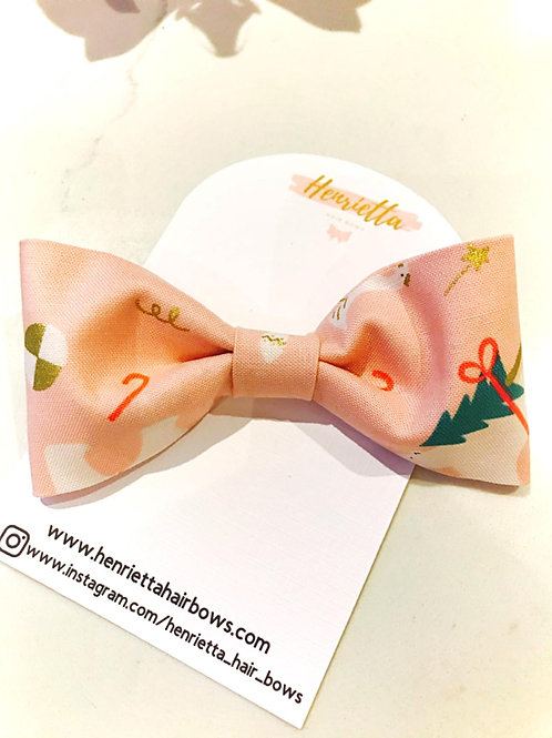 Christmas Themed Pink Fabric Bow
