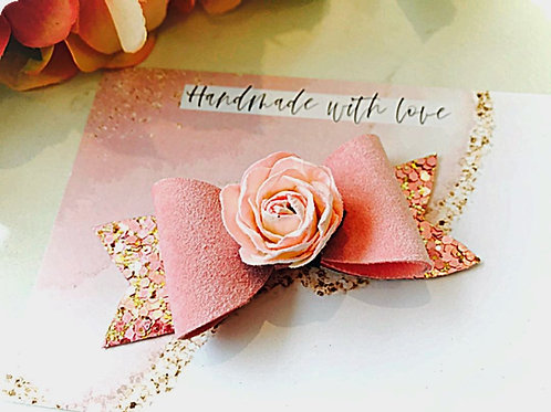 Faux Suede Pink Rose Bow