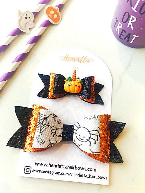 Small Sleepy Pumpkin and Spider Bow Set