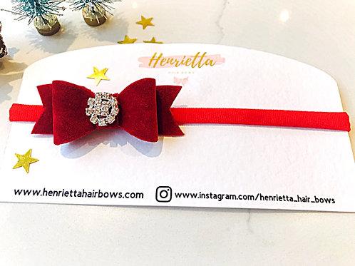 Red Velvet Diamanté Headband