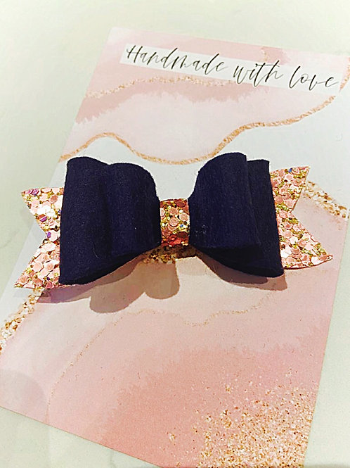 Navy Felt Bow with Rose Gold Glitter