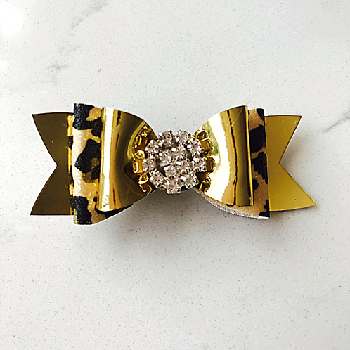 Small Gold & Leopard Print Bow