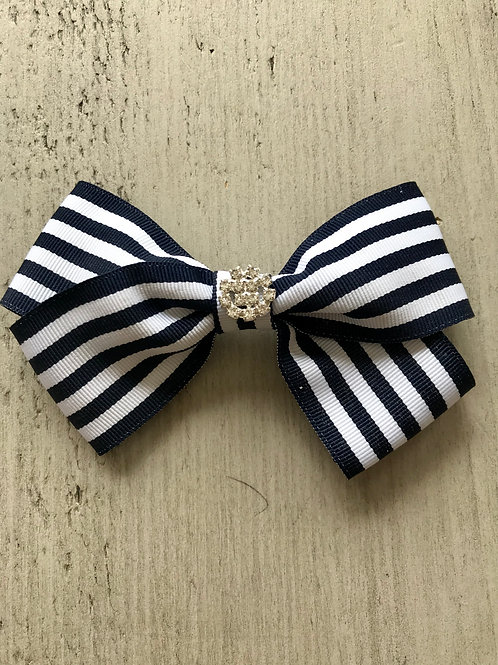 Large striped bow with diamante