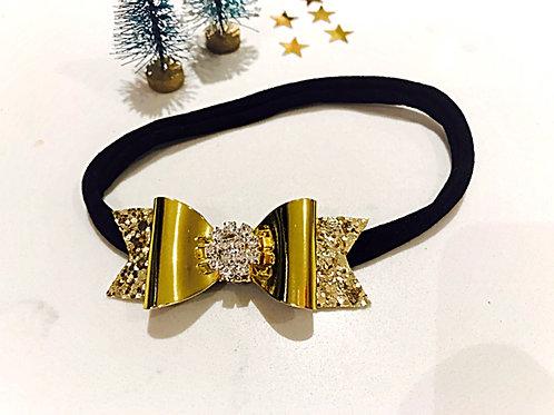 Gold Glitter Diamanté Baby Headband