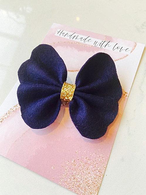 Blue Felt Butterfly Bow