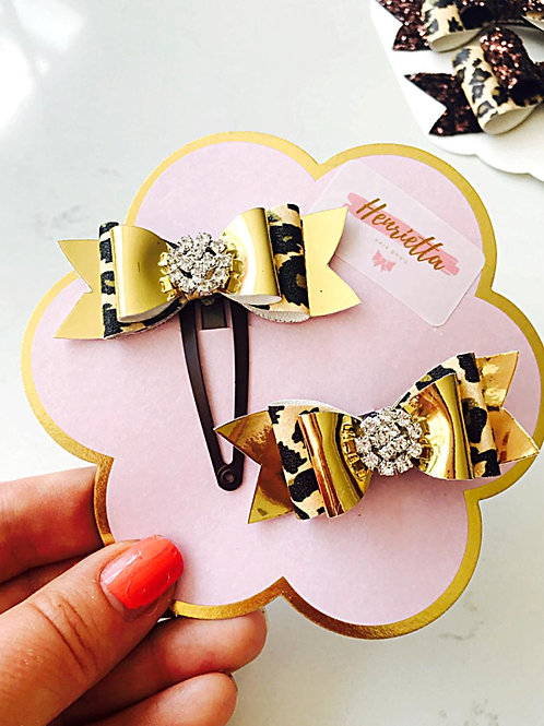 MatchingSmall Leopard Print & Gold Bows