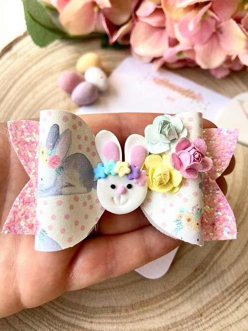 Easter Bunny Clay Hair Bow