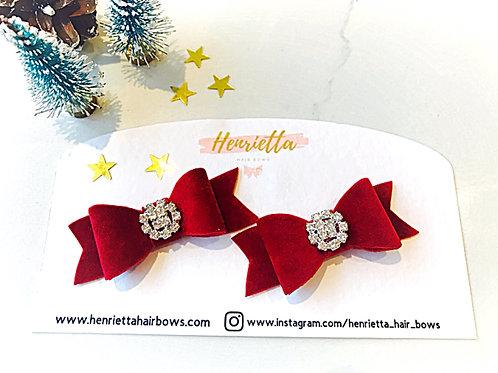 Red Velvet Diamanté Bows