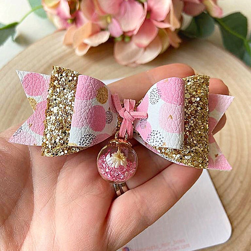 Pink Flower Bauble Hair Bow