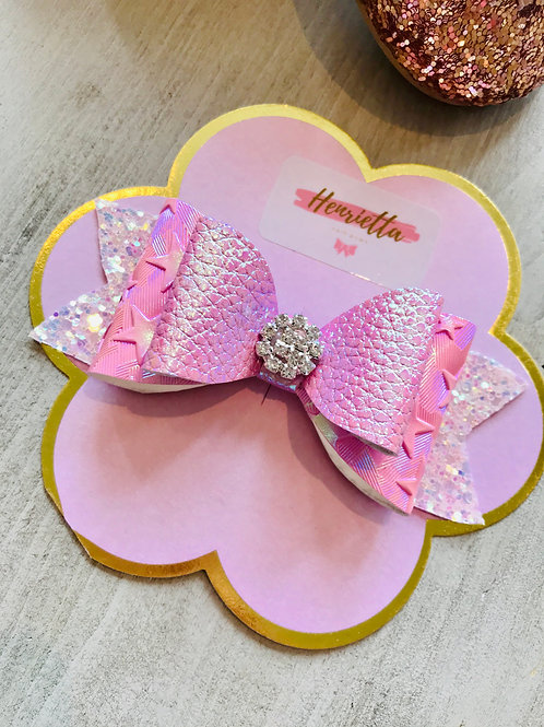 Pink star diamante bow