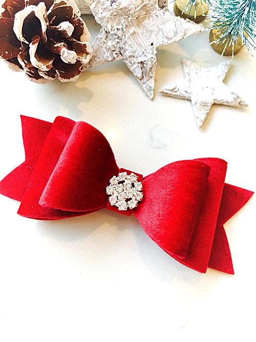 Red Velvet Diamante Bow