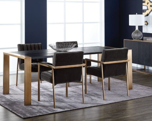A Distinctly Modern And Sophisticated Dining Table Made From German Oak Veneer In Black Finish With Stunning Brushed Antique Br Steel Frame