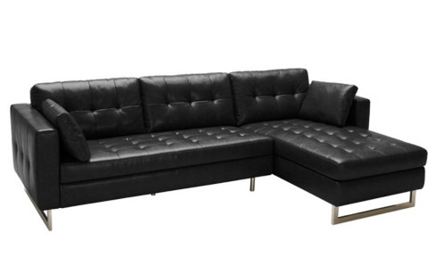A Modern Sofa Chaise Designed With Clean Lines And Tufting For Style And  Comfort. Stocked In Our Ash Grey And Black Fog Bonded Leathers With A  Polished ...