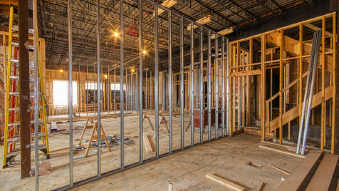 main structure kitchen area framing