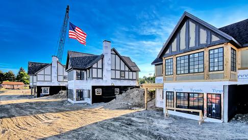 Flag flying above cottages