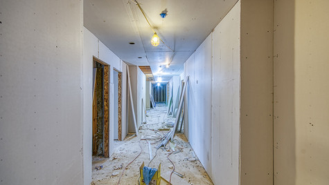 N wing 1st floor hall drywall