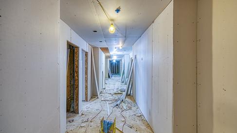 N wing 1st floor hall drywall