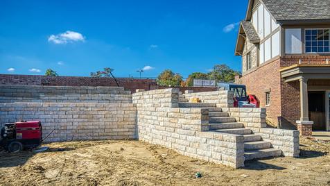 stairs & retaining walls N side of pool