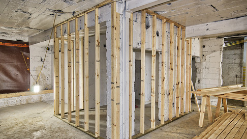 basement wall prep & framing