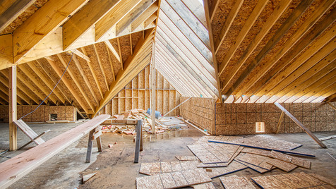 N wing S end roof-attic consruction