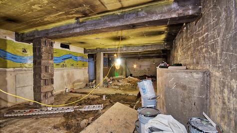 basement - 'speakeasy room' drain lines replacement view 2