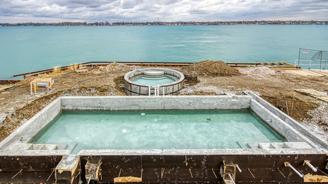 pool & hot tub elevated view