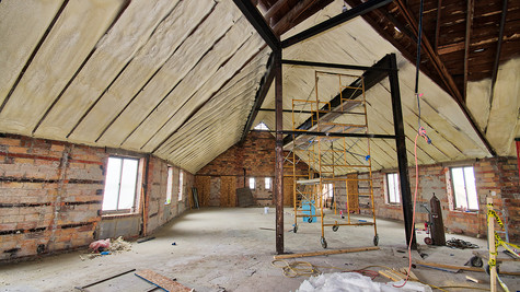 main structure 2nd floor - ceiling insulation looking S