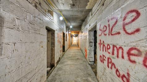 basement hall - new concrete floor looking N