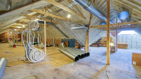 center section attic HVAC installation