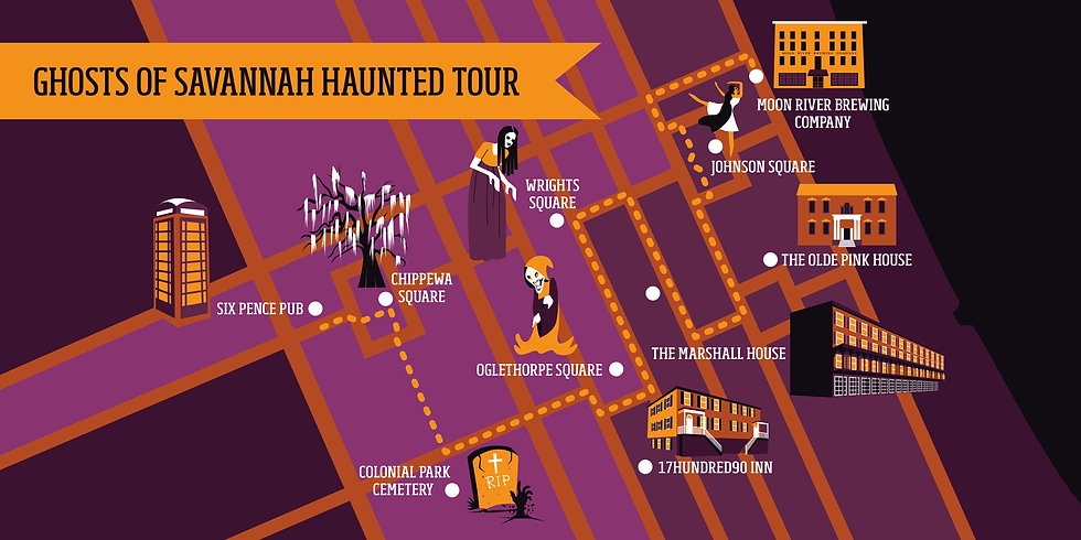 Map of Ghosts of Savannah Haunted Tour (