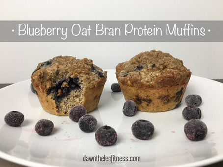 Blueberry Oat Bran Protein Muffins