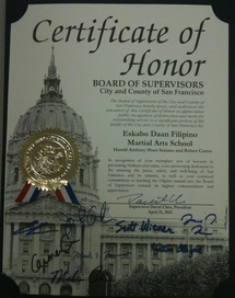 Certificate of Honor from the SF Board of Supervisors